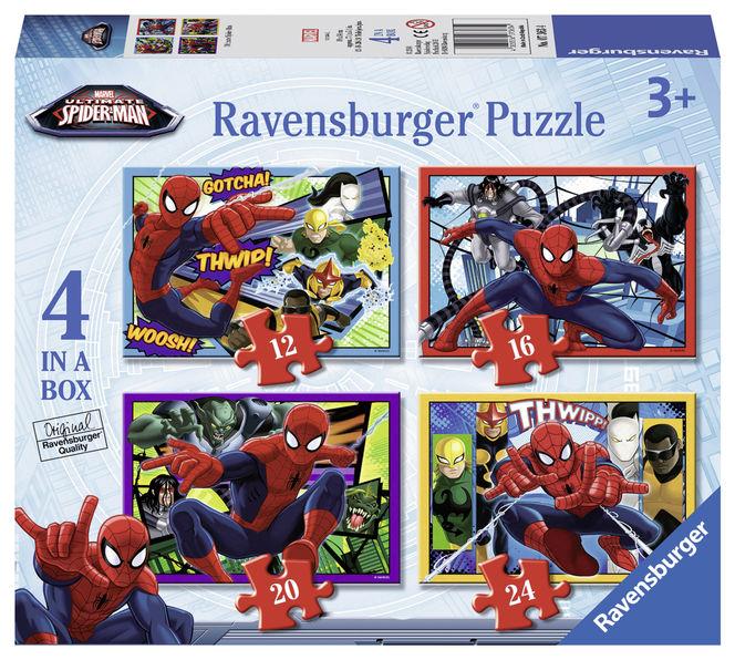 Puzzle spiderman 4 buc in cutie 12/16/20/24 piese ravensburger imagine