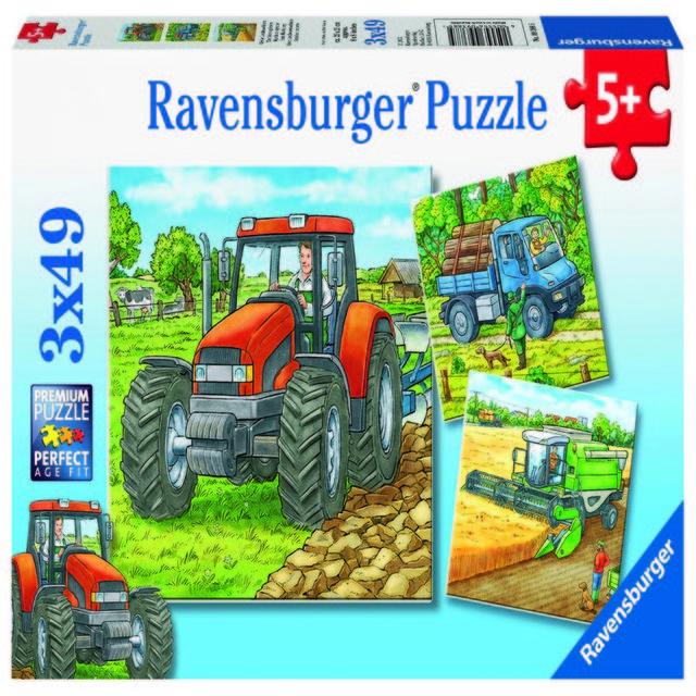 Puzzle utilaje agricole 3x49 piese ravensburger imagine