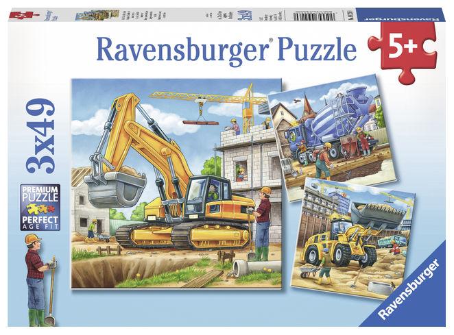 Puzzle vehicule constructii 3x49 piese ravensburger imagine