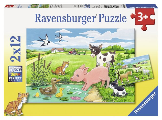 Puzzle animale la ferma 2x12 piese ravensburger