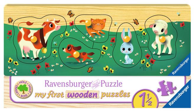 Puzzle lemn cu animale 5 piese ravensburger imagine