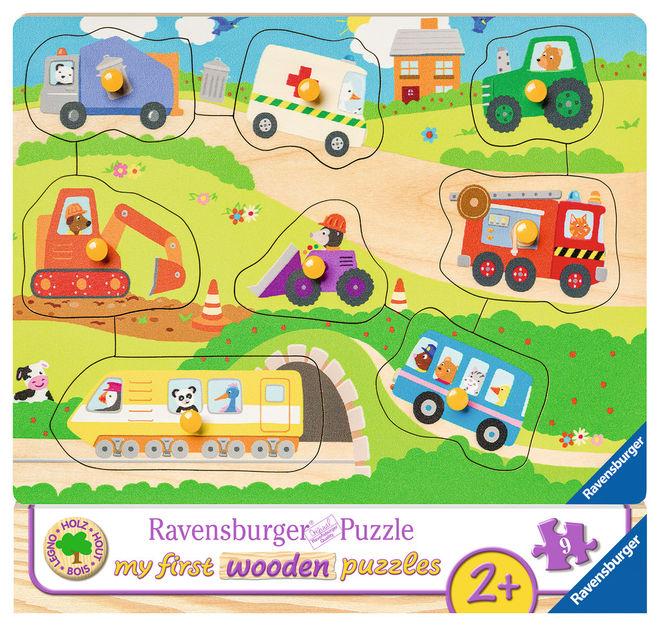 Puzzle din lemn cu vehicule 8 piese ravensburger imagine