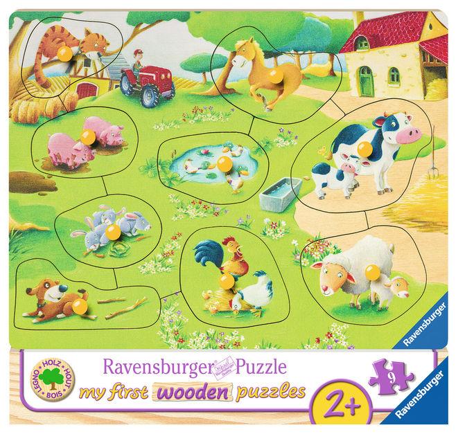 Puzzle din lemn ferma 9 piese ravensburger imagine
