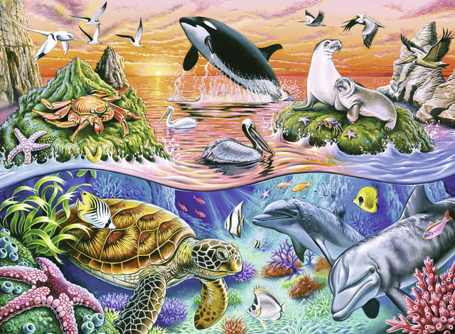 Puzzle minunatul ocean 100 piese ravensburger - 1