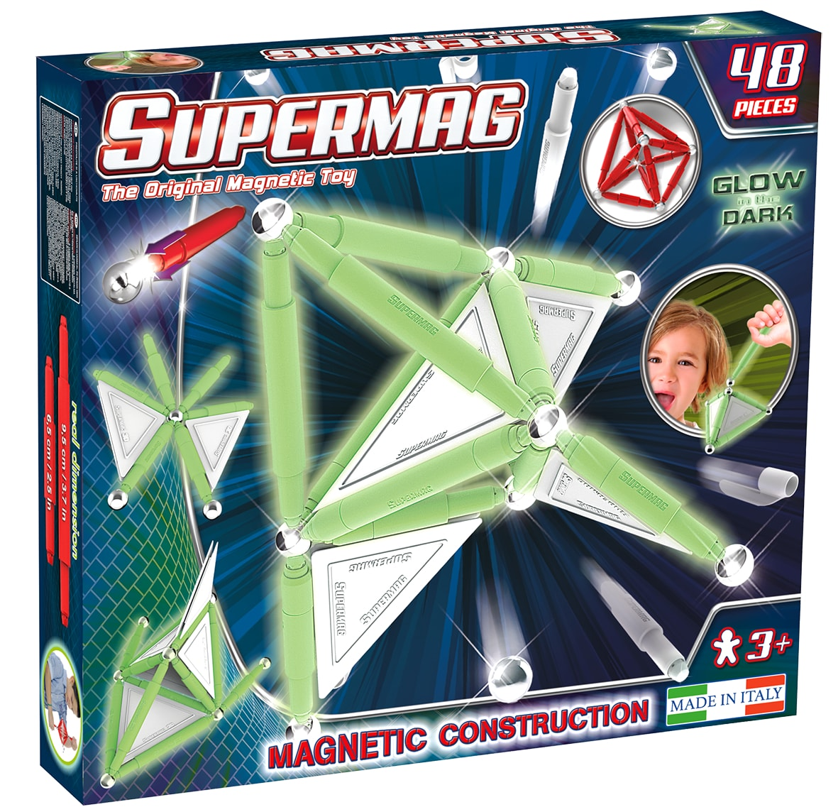 Set constructie magnetic luminos 48 piese supermag imagine