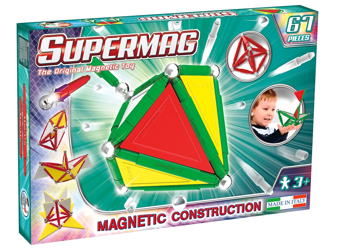 Set constructie magnetic primary 67 piese supermag imagine