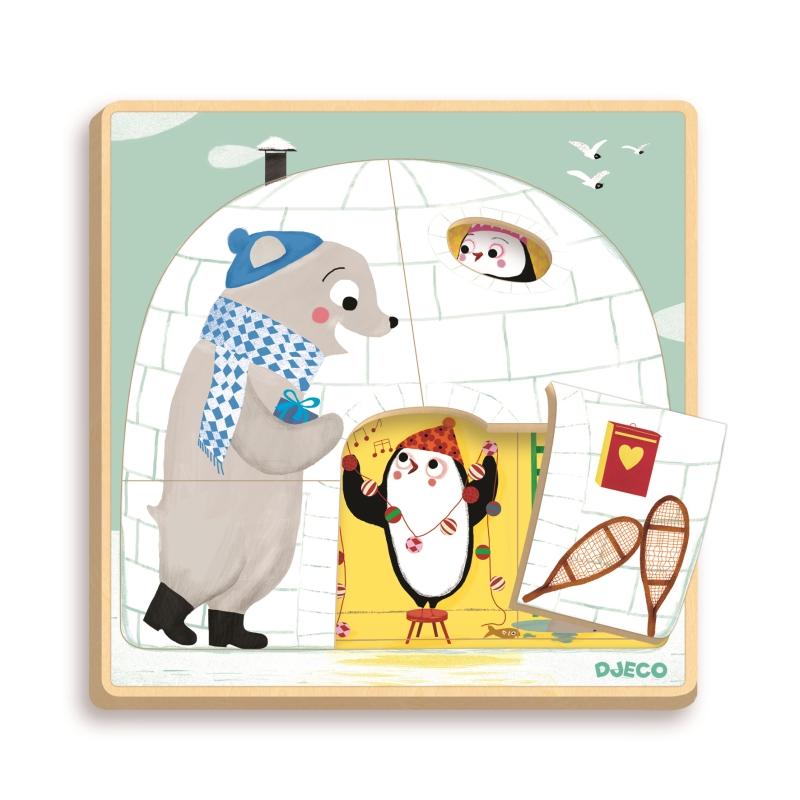 Puzzle lemn straturi iglu djeco imagine
