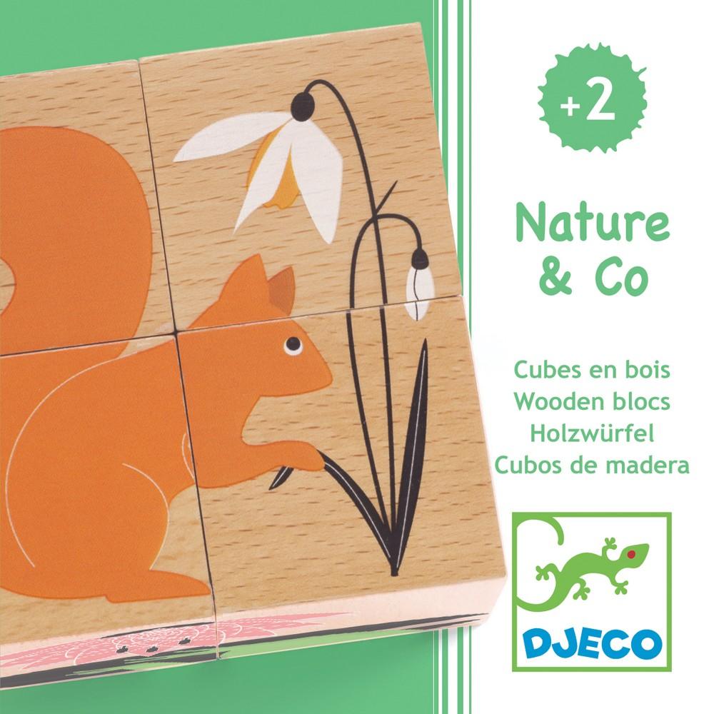 Puzzle cuburi lemn natura djeco imagine
