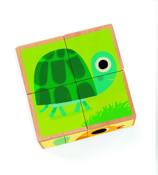 Puzzle cuburi lemn animale djeco imagine