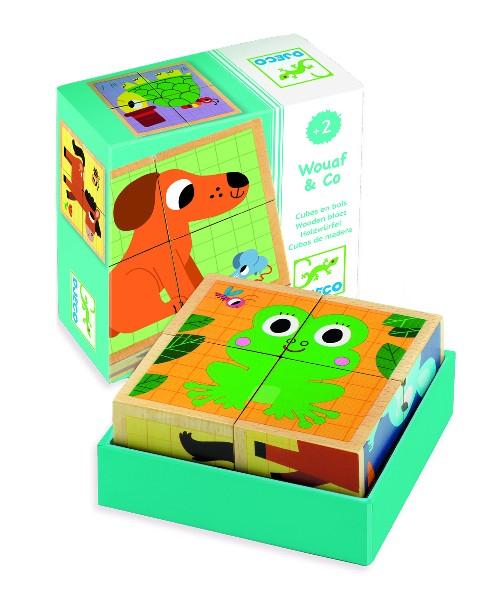 Puzzle cuburi lemn animalute djeco imagine