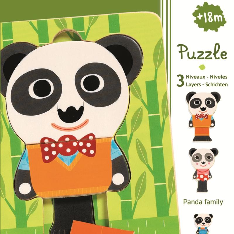 Puzzle lemn straturi familia panda djeco imagine