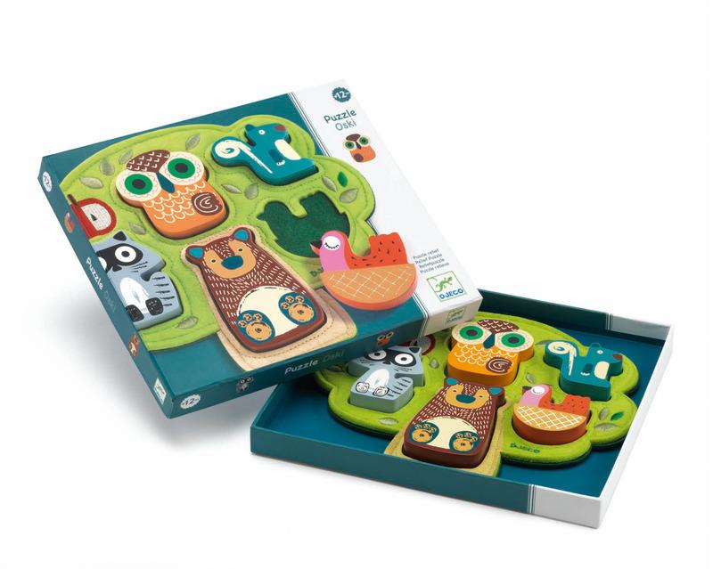 Puzzle lemn cu animale oski djeco imagine