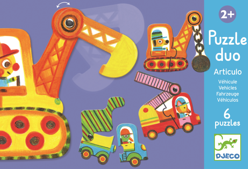 Puzzle duo mobil vehicule djeco