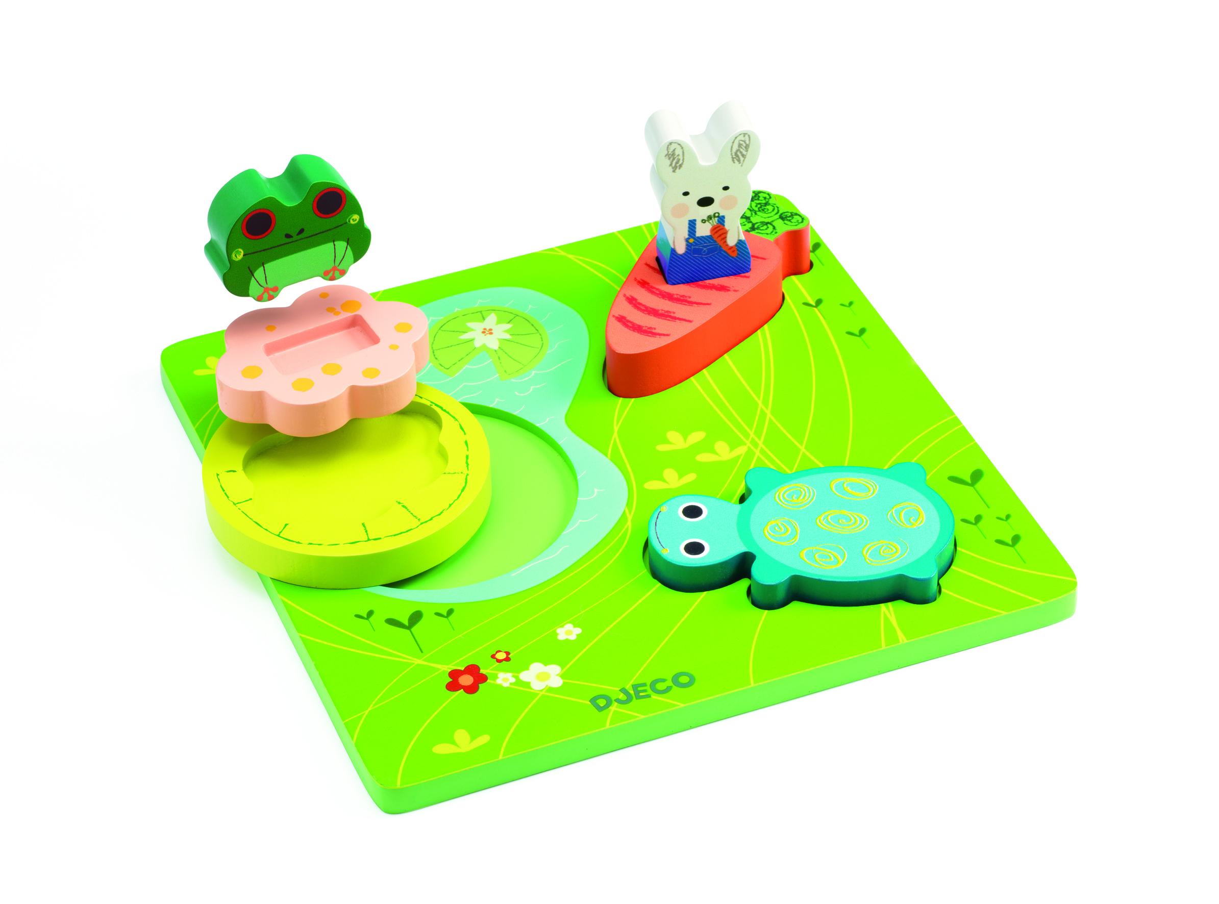 Puzzle lemn relief 1 2 3 froggy djeco imagine