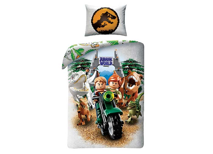 Lenjerie de pat lego jurassic world imagine