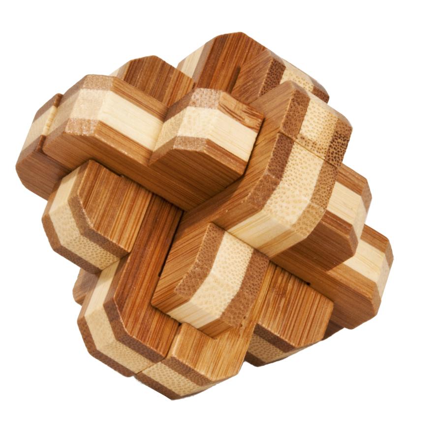 Joc logic iq din lemn bambus 3d round knot fridolin