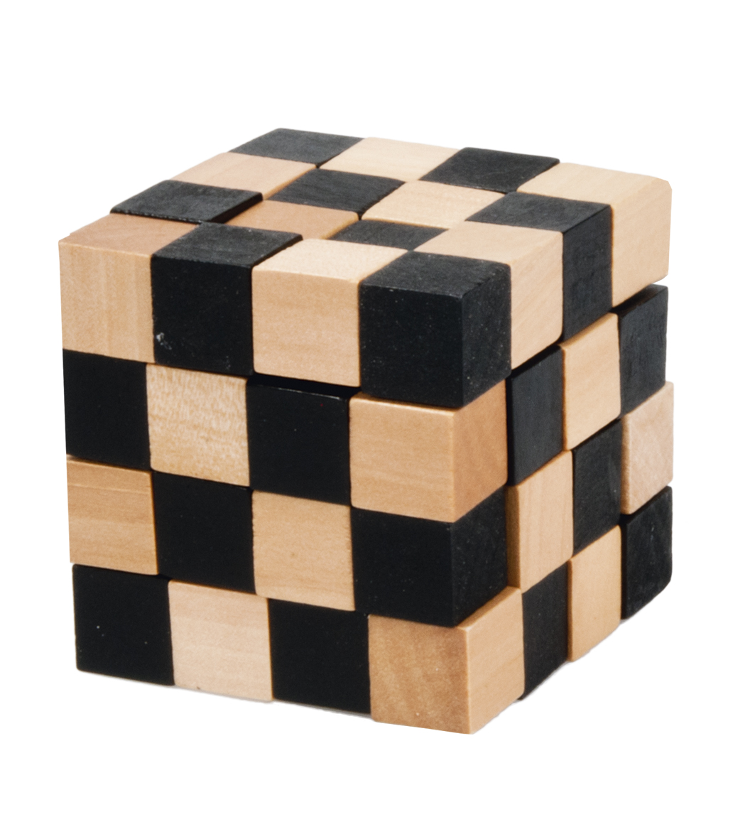 Joc logic iq din lemn negru si bej anaconda fridolin