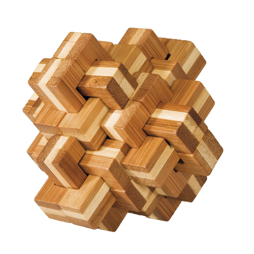Joc logic iq din lemn bambus ananas 3d fridolin