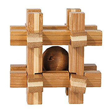 Joc logic iq din lemn de bambus cutie cu bila fridolin