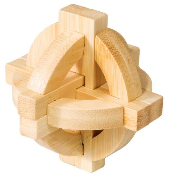 Joc logic iq din lemn bambus double disk puzzle 3d fridolin