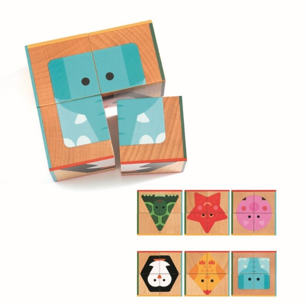 Cuburi din lemn basic djeco imagine