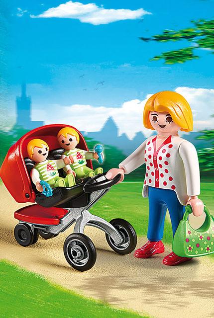 Carucior cu gemeni playmobil city life - 2