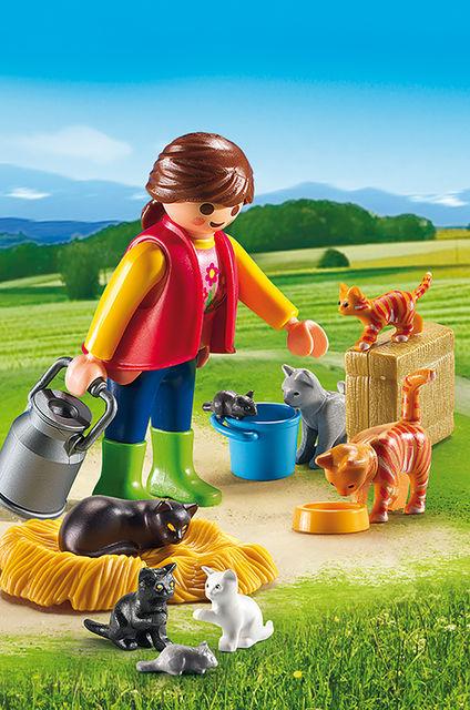 Femeie cu familie de pisici playmobil country - 2