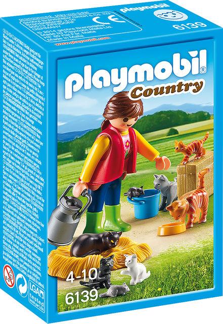 Femeie cu familie de pisici playmobil country