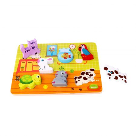 Puzzle incastru animale din lemn tooky toy imagine